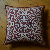Indian inspired hand drawn 'Priti' cushion, made with 100% cotton