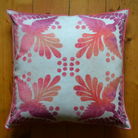 Pink, orange and cream 'Nara' cushion, made with 100% cotton