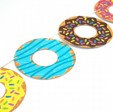 8 Piece Doughnut Garland - Party - Decoration - Cute - Illustration - Colourful