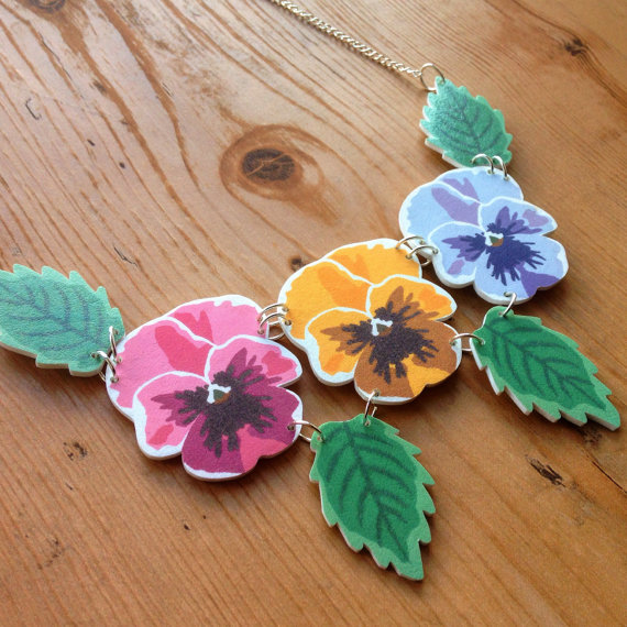 Pansy Rainbow Flower Necklace by Nerd That Draws