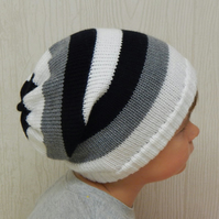 knit hat for toddler boy, knitted slouch beanie, handmade slouchy hat for boy