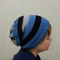 slouch hat for boy, knit baby hat, knitted toddler beanie, slouchy junior hat