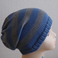 boy's hats for winter, knitted toddler hat, knit slouchy beanie, handmade hats