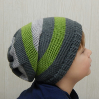 knitted boys slouch hat, baby winter hat, slouchy beanie for infant, knit hat