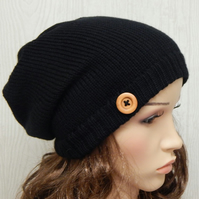Black womens slouch hat, handmade slouchy beanie, baggy hat with button