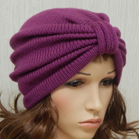 knitted full turban hat, winter beanie, gift for women, retro style hats
