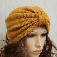 womens full turban hat, knit turban beanie, knitted hats, handmade in the UK