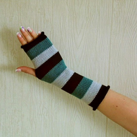 knitted arm warmers striped fingerless gloves knit mittens hand warmers
