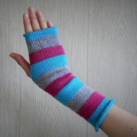 womens fingerless gloves, knit arm warmers, knitted hand warmers, mittens