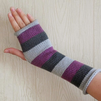striped fingerless gloves, knitted arm warmers, womens fingerless, knit mittens