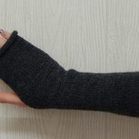dark fingerless mittens knitted arm warmers knit fingerless gloves knitted