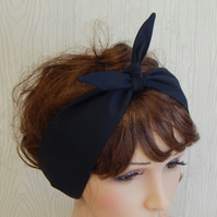 black self tie cotton headband, rockabilly hair scarf, retro headbands