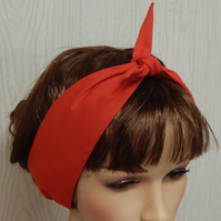 Retro self tie red cotton headband hair scarf 50's head scarf  hair wrap