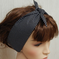 pin up rockabilly hair scarf, self tie headband, retro 50s hair band