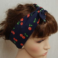 Cherry berry self tie retro cotton headband, tie up 50's hair scarf