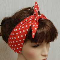 Self tie retro headband, rockabilly head scarf, pin up hair band bandanna