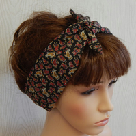 Handmade self tie headband, tie up hair scarf, retro hair band, pin up bandana