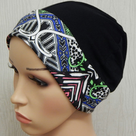 Black cancer skull hat chemo bonnet hair loss head wear women's chemo hat