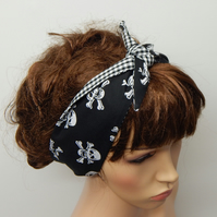 Rockabilly headband self tie hair scarf pin up reversible bandana handmade gift