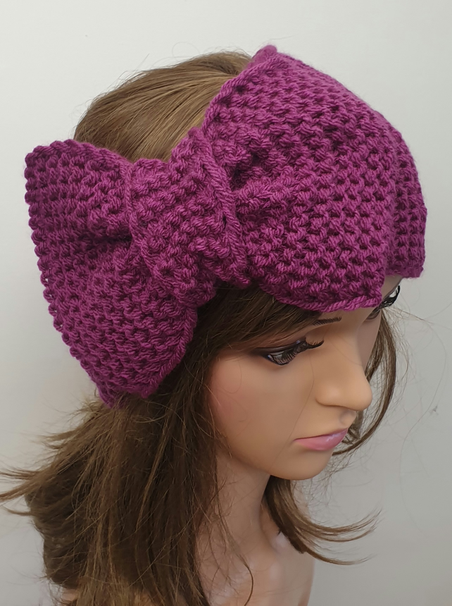 Hand knit headband women ear warmer large bow retro head wear