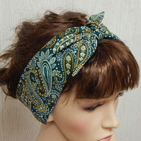 Self tie retro headband, women head wear, rockabilly bandanna