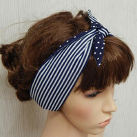 Women retro headband self tie headscarf tie up 50's hair scarf