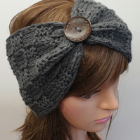 Hand knitted headband women head band dark grey head wear
