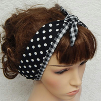 Women headband, reversible headscarf, retro head wear