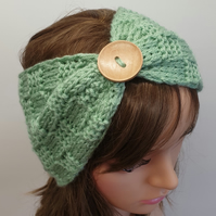 Hand knit women headband, green ear warmer, winter head wear
