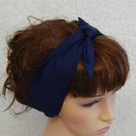 Self tie women headband, retro headscarf, tie up 50's hair scarf