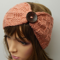 Hand knitted headband handknit head wear women retro turban headband