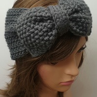 Hand knitted women ear warmers handmade headband knit headband with bow