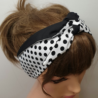 Handmade retro headband, rockabilly tie up hair scarf, 50's self tie headwear