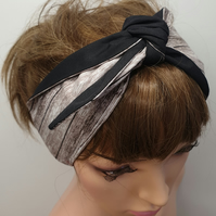 Handmade retro hair scarf rockabilly pin up 50's headband reversible headwear