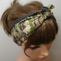 Self tie women reversible headband camouflage army style head scarf 50s headwear