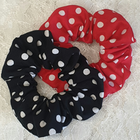Polka dots retro hair scrunchies handmade set of 2 scrunchies