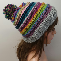 Hand knitted striped beanie hat