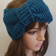 Hand knitted headband with large bow
