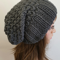 Hand knitted women slouchy hat