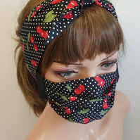 Handmade face mask and matching headband set of 2 pieces
