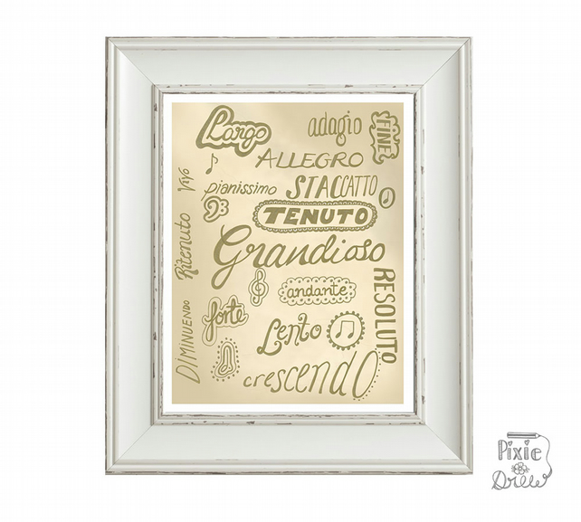 Musical terms hand typography wall art print. Theory of Music words.