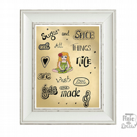 Sugar and spice and all things nice nursery art print in sepia or colour.