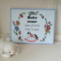 Baby gift canvas with personalised choice of babies name, date and weight.