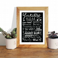 Yorkshire sayings and phrases chalk art print. Sheffield accent. A4 Art print.