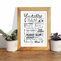 Yorkshire sayings and phrases black ink print. Sheffield accent. A4 Art print.