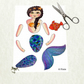 Little mermaid articulated paper doll to print. DIY.