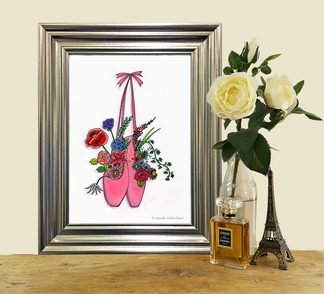 Pink ballet slippers full of flowers illustration A4 print.