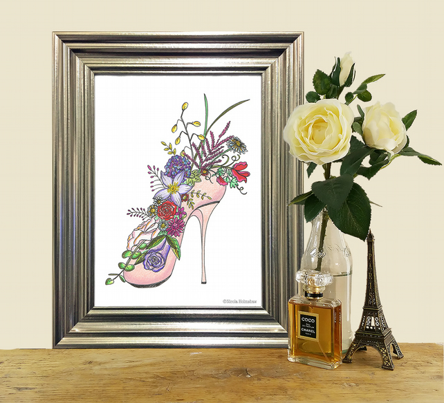 Shoe filled flower art print. A4 bedroom wall art. High heeled shoe of flowers.
