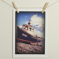 A4 Photograph Fishing Boat, Devon Beach