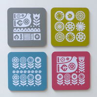 Scandi Bird and Flowers Coaster Set Scandinavian Retro Mid Century Coasters